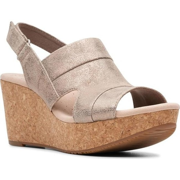 d7c47ec0c5 Shop Clarks Women's Annadel Ivory Wedge Sandal Pewter Suede - On ...