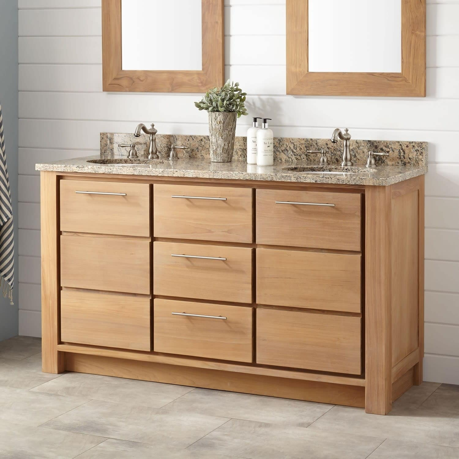 Signature Hardware 942083 8 Venica 60 Double Vanity Set With Teak Cabinet Gran Overstock 25741181