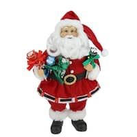 "12"" Santa Claus Holding Tootsie Pops Christmas Tabletop Decoration - RED"