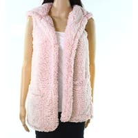 Moa Moa Heather Blush Pink Womens Size Small S Soft Hooded Open Vest