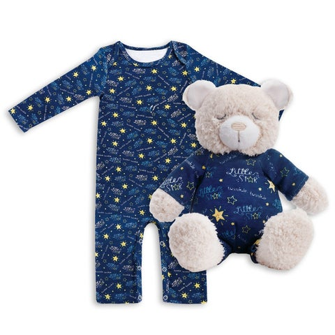Demdaco Baby Infant's Jammie Pals Celestial Pajamas/Stuffed Animal Set- 6 Months