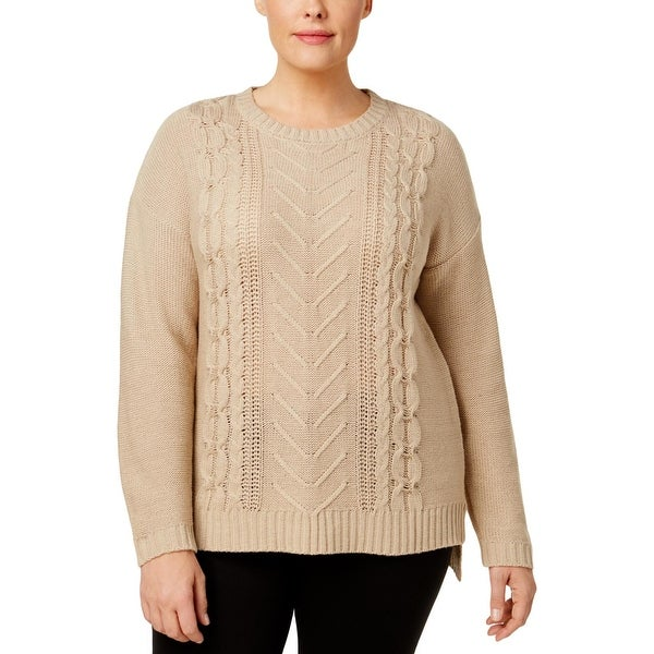 NY Collection Womens Plus Tunic Sweater Cable Knit Crewneck