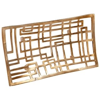 """Cyan Design Small Circuit Board Tray  Circuit Board 16"""" Wide Aluminum Tray Made in India - Antique Brass"""