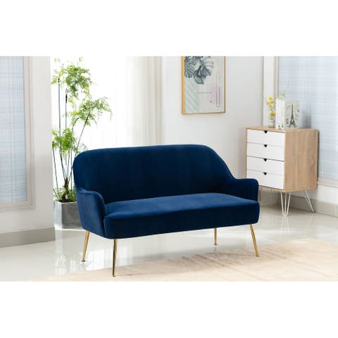 Porthos Home Maia Love Seat Sectional Couch Sofa, Velvet, Iron Legs