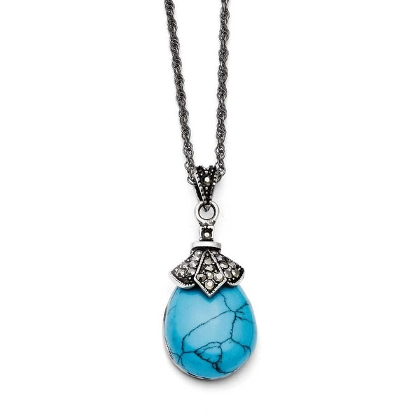 Chisel Stainless Steel Simulated Turquoise/Marcasite Antiqued Necklace (2 mm) - 18 in