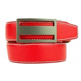 Nexbelt Classic Pebble Grain Sunday Red Leather Strap Dress Belt