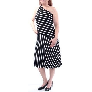 Womens Black White Sleeveless Below The Knee Sheath Casual Dress Size: L