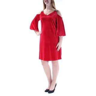 MSK $79 Womens New 1288 Red Rhinestone Cut Out Velvet Shift Dress 10 B+B