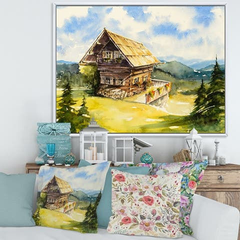 Designart 'Peaceful Landscape With Old Cottage At Summer' Traditional Framed Canvas Wall Art Print