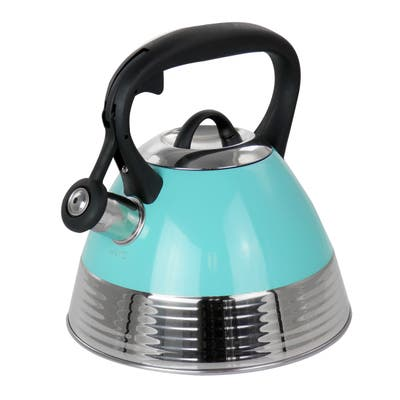 Mr. Coffee 2.5 Quart Stainless Steel Whistling Tea Kettle in Turquoise