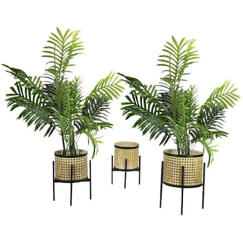 Bohemian Indoor Plant Stand , Potted Plant Holder, Large, Medium, Small, Set of 3, ABN5E176-NTRL
