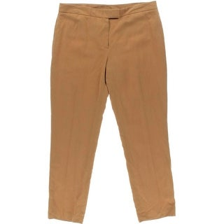 Anne Klein Womens Linen Adjustable Tab Ankle Pants