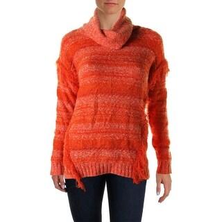 Kensie Womens Fringe Marled Turtleneck Sweater