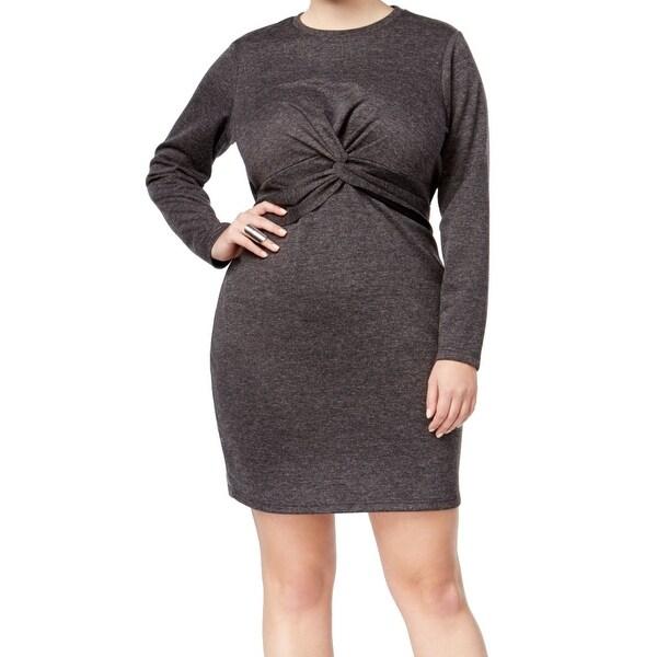 Whitespace Gray Heather Women's Size 1X Plus Twist Sheath Dress