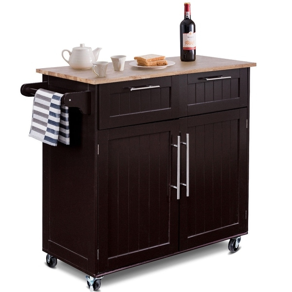 Kitchen Cart With Cabinet: Shop Costway Rolling Kitchen Cart Island Heavy Duty