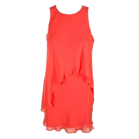 Lauren Ralph Lauren Petite Coral Sleeveless Chiffon Overlay Shift Dress 2P
