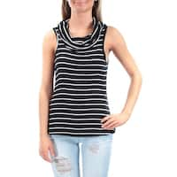 Womens Black, White Striped Sleeveless Scoop Neck Casual Top  Size  XS