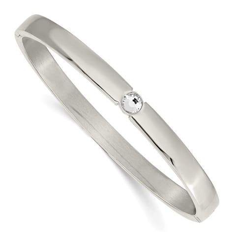 Chisel Stainless Steel Polished with Preciosa Crystal 6mm Hinged Bangle