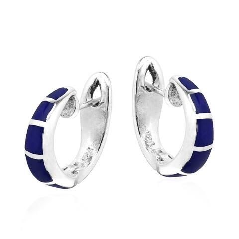 Handmade Simple Elegance Blue Lapis Inlay Sterling Silver Hoop Huggie Earrings (Thailand)
