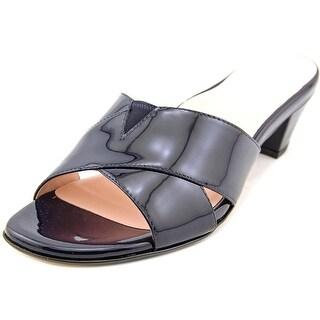 Taryn Rose Obert Open Toe Patent Leather Slides Sandal