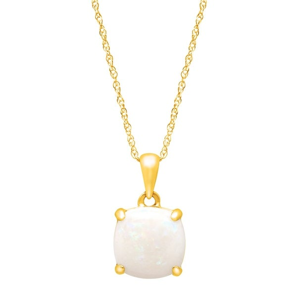"""1 1/2 ct Cushion-Cut Natural Opal Pendant Necklace in 14k Yellow Gold, 18"""""""