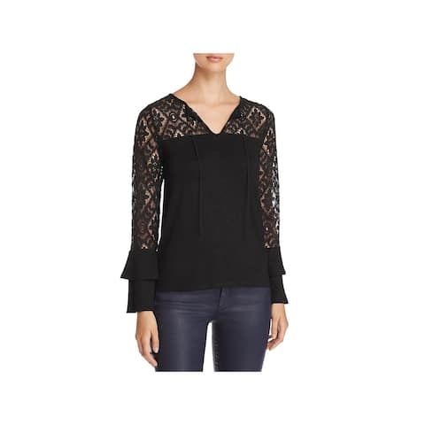Design History Womens Blouse Lace Bell Sleeves