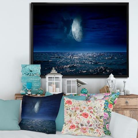 Designart 'Full Moon Over Dark Ocean At Night' Nautical & Coastal Framed Canvas Wall Art Print