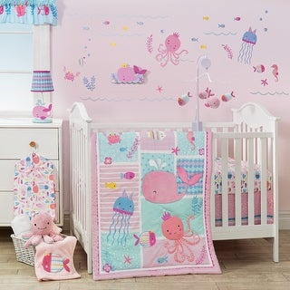 Bedtime Originals Sugar Reef Pink/Blue Nautical Whale, Octopus, and Fish 10-Piece Nursery to Go Baby Crib Bedding Set