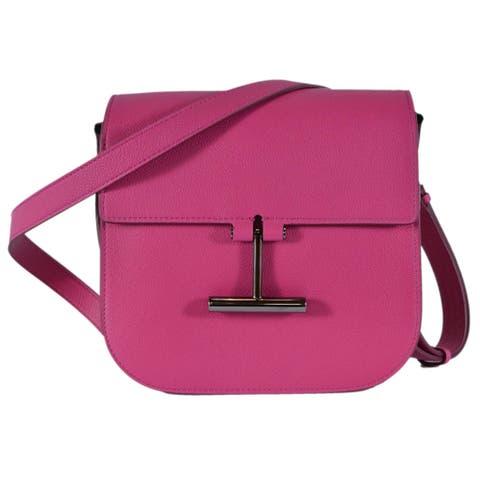 Tom Ford Women's Hot Pink Leather Tara T Clasp Crossbody Purse Bag