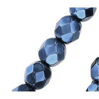 Czech Fire Polished Glass Beads 6mm Round Full Pearlized - Navy Blue (25)