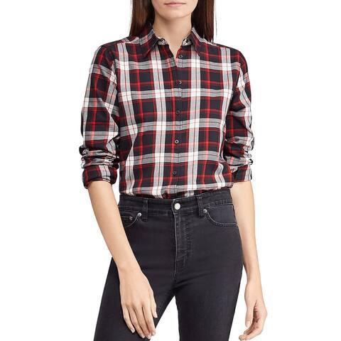 Lauren Ralph Lauren Plaid Twill Cotton Shirt Medium Black and Red Long Sleeves
