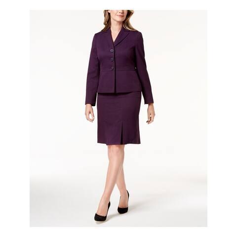 LE SUIT Purple Below The Knee Pencil Blazer Skirt Suit Size 4