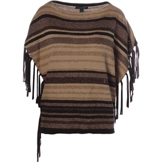 Lauren Ralph Lauren Womens Striped Fringe Oversized Poncho Sweater