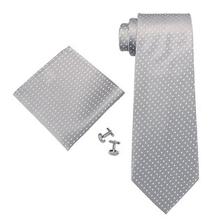 Men's Silver Grey Polka Dots 100% Silk Neck Tie Set Cufflinks & Hanky 1853N - regular