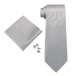 TheDapperTie Men's Grey & White Polka Dots 100% Silk Neck Tie Set 53N