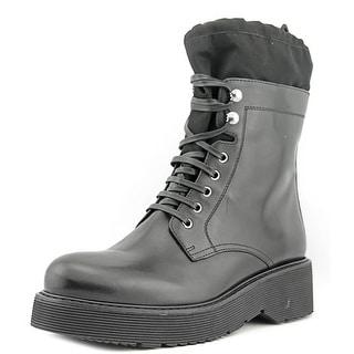 Prada 3T6101   Round Toe Leather  Combat Boot