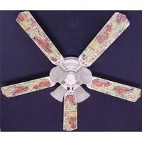 Nostalgic Fire truck Print Blades 52in Ceiling Fan Light Kit - Multi