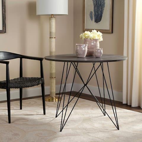 "SAFAVIEH Marino Dark Grey / Black Round Dining Table - 35.4"" x 35.4"" x 29.5"""