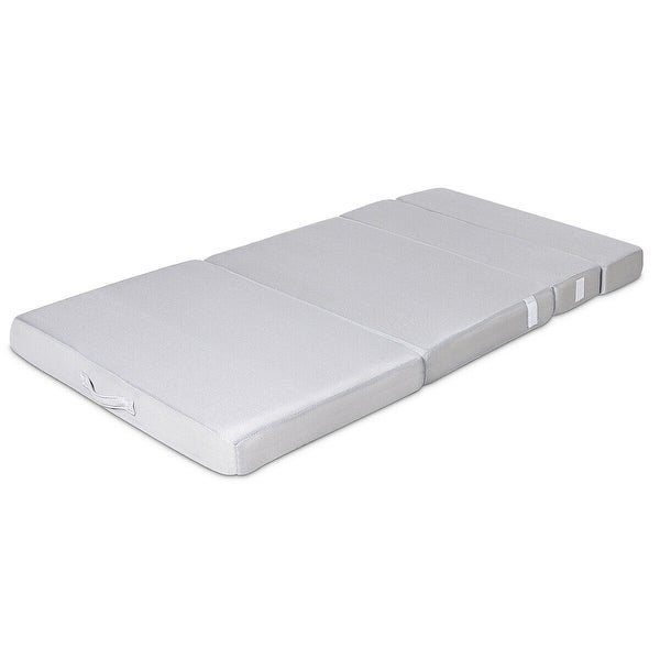 "4/"" Twin XL Size Foam Folding Mattress Sofa Bed Guests Floor Mat Carrying Handles"