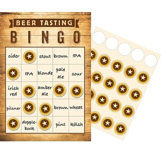 "Club Pack of 60 Brown and White Checkered ""Beer Tasting"" Bingo Game 10"