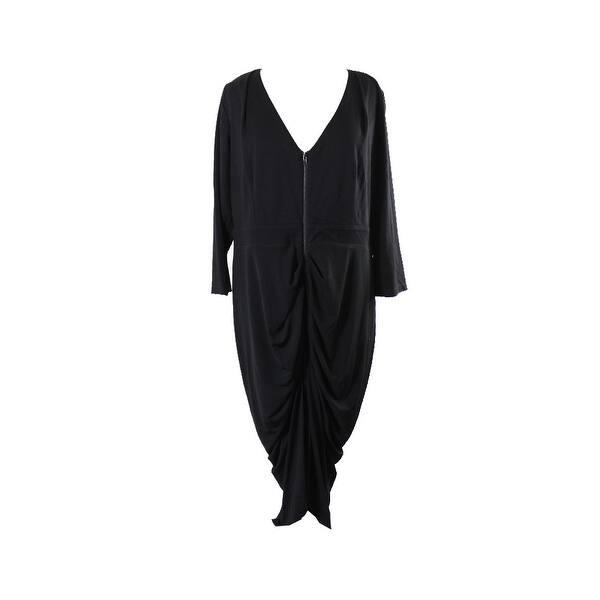 Shop City Chic Trendy Plus Size Black Front-Zip Bodycon Dress 24W ...