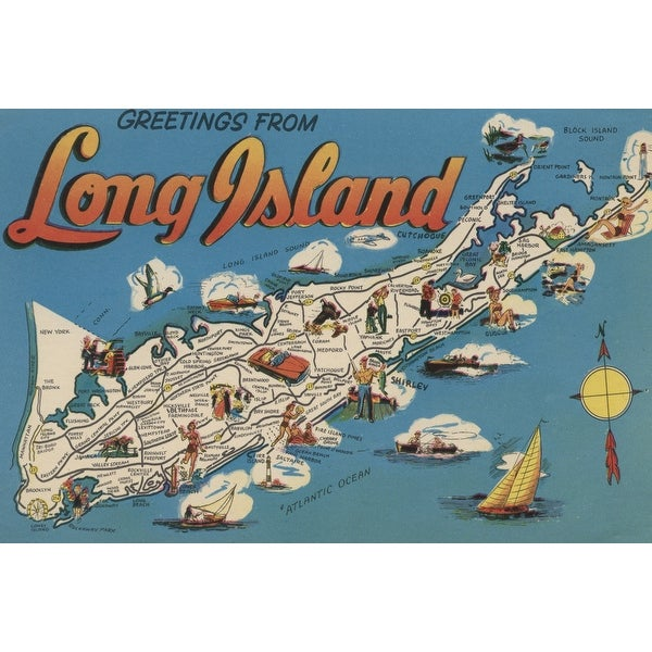 Greetings From Long Island, New York View - Vintage Halftone (Keepsake Tin)