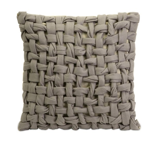 "18"" Distinctive Gray Woven Twist Basket Weave Square Decorative Pillow"