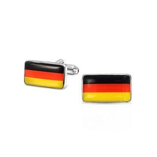 Bling Jewelry Black Red Yellow German Flag Mens Cuflinks Rhodium Plated