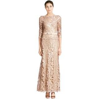 Tadashi Shoji Paillette Lace 3/4 Sleeve Belted Evening Gown Dress - 4