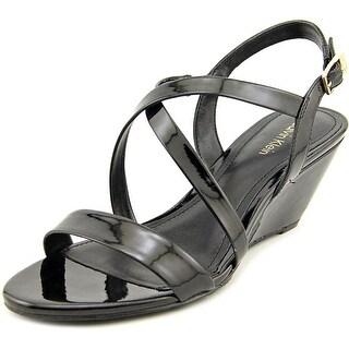 Calvin Klein Thea Patent Women Open Toe Synthetic Black Wedge Sandal