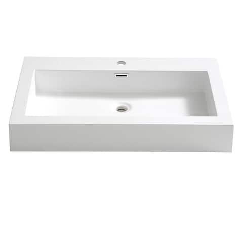 """Fresca Livello 30"""" White Integrated Sink / Countertop"""