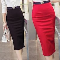 Women's Autumn Winter OL Sexy High Waist Mid-Calf Package Hip Pencil Skirt
