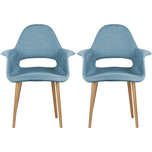 2xhome - Fabric Mid-Century Modern Accent Chairs Natural Leg in (Blue) - Set of 2