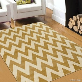 "Allstar Brown / Beige Woven Hand Carved Chevron Geometric Area Rug (3' 9"" x 5' 1"")"